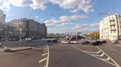 Doubledecker goes on streets in center of Moscow near Kremlin Stock Footage
