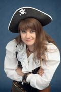 portrait of pirate woman in hat - stock photo