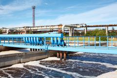 Aeration of wastewater in sewage treatment plant Stock Photos