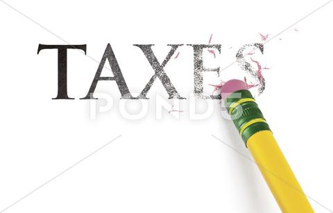 Stock Illustration of erasing taxes