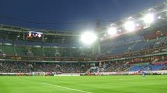Team of Russia and Northern Ireland meet on Locomotive stadium Stock Footage