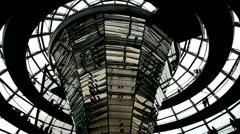 People move on a spiral ramp in a glass dome of the Reichstag, Berlin Stock Footage