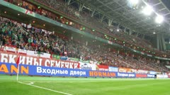 Audience watch match of Russian national team, Northern Ireland Stock Footage