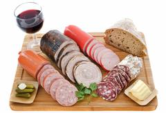 Varieties of sausages Stock Photos