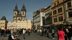 Prague Old Town Square with horse transport Stock Footage