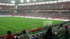 Audience watches match of Russia with Cote d Ivoire Stock Footage