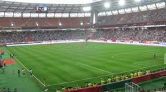 Press photographs match of Russia with Cote d Ivoire Stock Footage