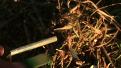 Bushcraft (sparks from the flint) _3 Stock Footage