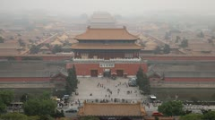 Center Beijing, China, Air Pollution, Smog, Gate to Forbidden City, Aerial View Stock Footage