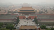 Stock Video Footage of Center Beijing, China, Air Pollution, Smog, Gate to Forbidden City, Aerial View