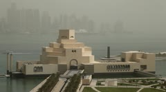 Museum of Islamic Arts, Desert Dust Storm, Qatar, Doha Corniche, West Bay Stock Footage