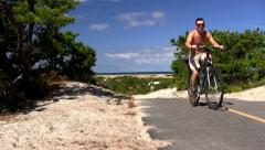 Men on bikes Provincetown Cape Cod Stock Footage