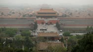 Center Beijing, China, Aerial View, Gate to Forbidden City, Air Pollution, Smog Stock Footage