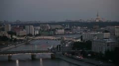 moscow wide shot with river twilight - stock footage