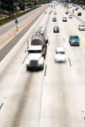 freeway traffic - stock photo