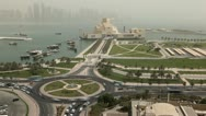 Stock Video Footage of Museum of Islamic Arts, West Bay, Qatar, Doha Corniche, Persian Gulf, Time Lapse