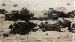 DESTROYED Arab CONVOY Israeli War 1967 (Vintage Home Movie Old Film) 5183 Stock Footage