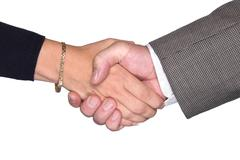 male and female shaking hands - stock photo