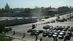 Cars stand on parking near Red Square in sunny day Stock Footage