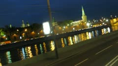 Doubledecker goes on streets in center of Moscow on embankment Stock Footage