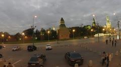 Tourist bus goes near Kremlin Wall in night Stock Footage