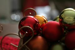 sleigh of baubles upclose - stock photo