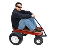 Red wagon and man Stock Photos