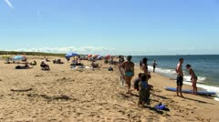 Tourists race point beach Provincetown Cape Cod - stock footage