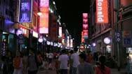 Shopping Neon Street, Pedestrian Road, Guangzhou, Guangdong, Canton, China Stock Footage