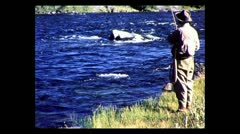 Montana catching a trout on the Madison River 1957 Stock Footage