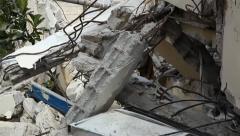 Earthquake rubble - stock footage