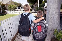 Walking to school Stock Photos
