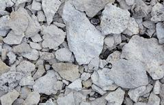 Concrete rubble - remains of destroyed wall Stock Photos