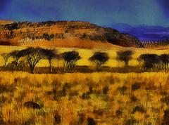 3d grassland mountains and trees Stock Illustration