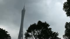 Stock Video Footage of Guangzhou, Guangdong, Canton Tower, Chigang Pagoda, Red Mound Pagoda