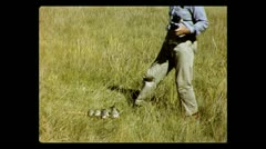 Montana taking pictures of the catch 1957 - stock footage