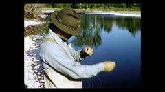 Montana untangling fishing line 1957 Stock Footage
