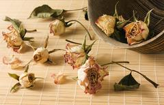 Dried rosebuds scattered from wooden bowl Stock Photos