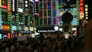 Shopping Neon Street, Pedestrian Road, Guangzhou, Guangdong, Canton, China Stock Footage