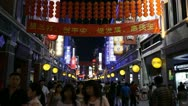 Pedestrian Road, Shopping Neon Street, Guangzhou, Guangdong, Canton, China Stock Footage