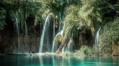 Waterfalls at Plitvice Lakes in Croatia Stock Photos