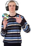 Nuori kaveri kuulokkeet ja cd-levy Kuvituskuvat