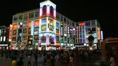 Shopping Neon Street, Pedestrian Road, Guangzhou, Guangdong, Canton, China - stock footage