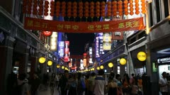 Shopping Neon Street, Guangzhou, Guangdong, Canton, China, Pedestrian Road - stock footage