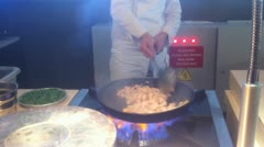 HD720 chicken flambe cooking Stock Footage