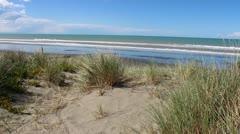 POV Shot - Walking on Sand Dune On Beachfront Stock Footage
