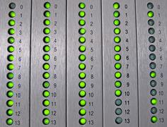 Led alarm signal in a synoptic panel Stock Photos
