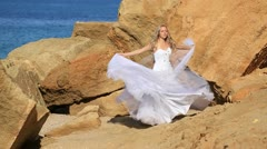 Bride on the beach Stock Footage