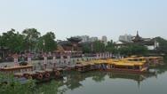 Fast motion of Nanjing Confucius Temple (Fuzimiao) and Qinhuai River, China Stock Footage