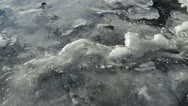 Stock Video Footage of River Ice with Current and Bubbles Flowing Below Pan